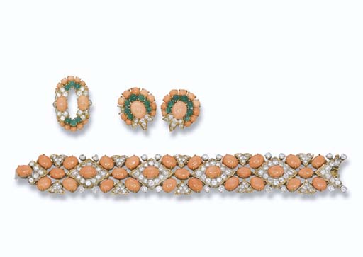 A PINK CORAL SET, BY FRED AND A PINK CORAL AND DIAMOND BRACELET