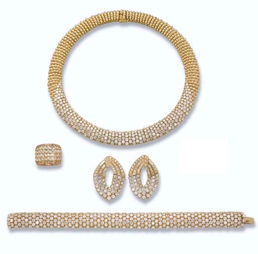 A DIAMOND AND GOLD SET, A PAIR