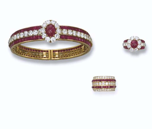 A RUBY AND DIAMOND SET, BY VAN