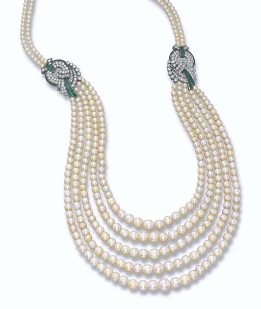 AN ART DECO NATURAL PEARL AND