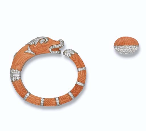 A DELICATE CORAL AND DIAMOND 'CHIMAERA' BANGLE AND A CORAL AND DIAMOND COCKTAIL RING, BY CARTIER