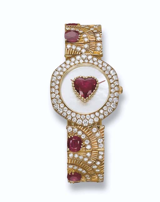 A  RUBY AND DIAMOND WRISTWATCH