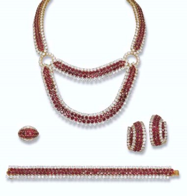 A RUBY AND DIAMOND SUITE, BY G