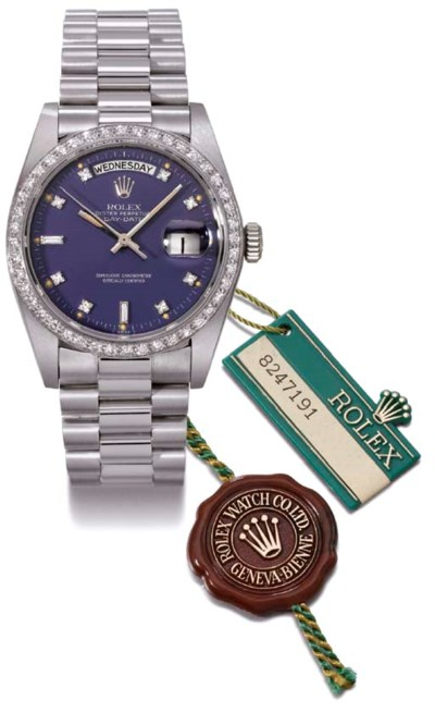 Rolex. An 18K white gold and d