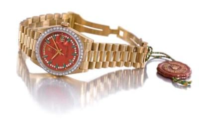 Rolex. An unusual 18K gold, em