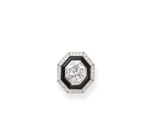 A Diamond and Onyx Ring