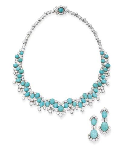 A Turquoise and Diamond Set, b