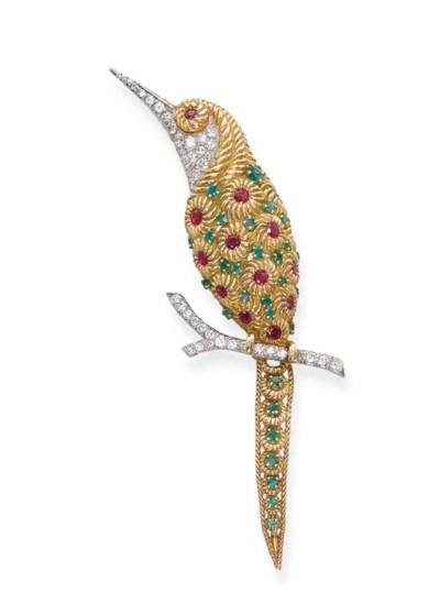 A Gem-Set 'Hummingbird' Brooch