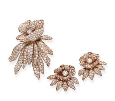 A DIAMOND FLORAL SET, BY CARTI