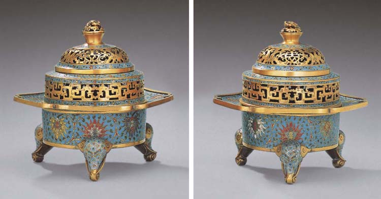 A FINE AND RARE PAIR OF GILT-BRONZE AND CLOISONNE ENAMEL TRIPOD CENSERS AND COVERS