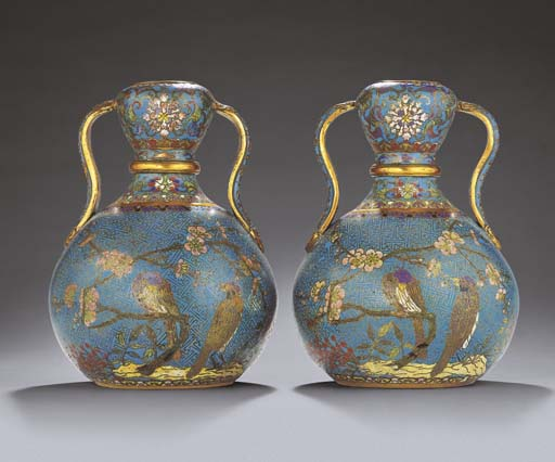 A FINE AND RARE PAIR OF CLOISONNE ENAMEL DOUBLE-GOURD VASES