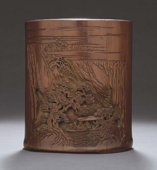 A CARVED, INSCRIBED AND DATED BAMBOO BRUSHPOT