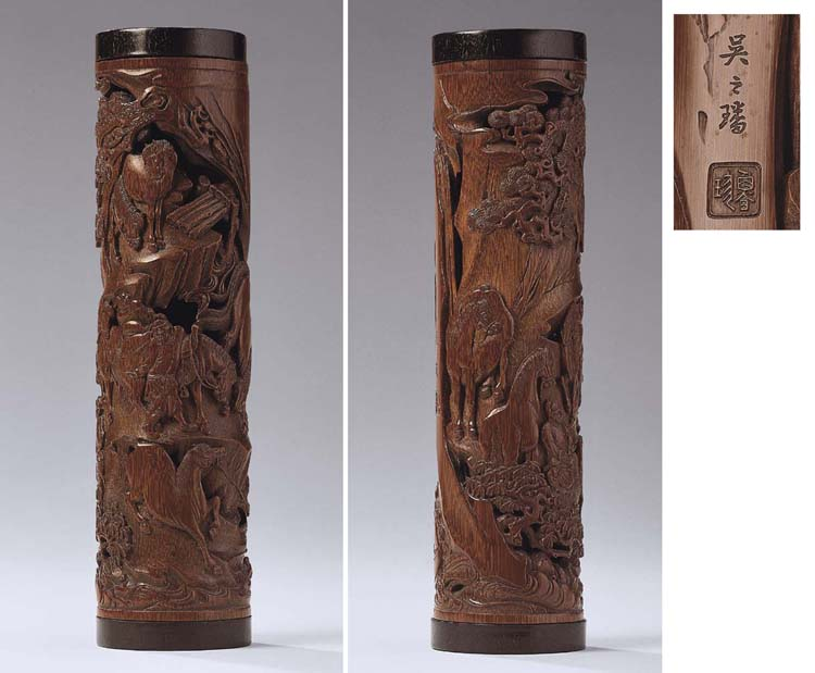 A RARE AND FINELY CARVED RETICULATED BAMBOO PARFUMIER