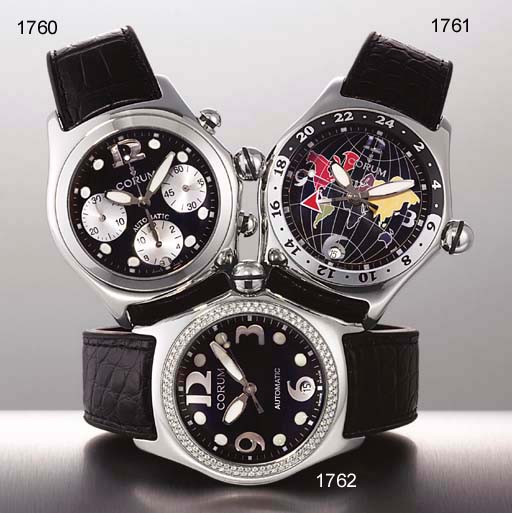 CORUM. A STAINLESS STEEL TONNEAU-SHAPED AUTOMATIC CHRONOGRAPH WRISTWATCH WITH DATE