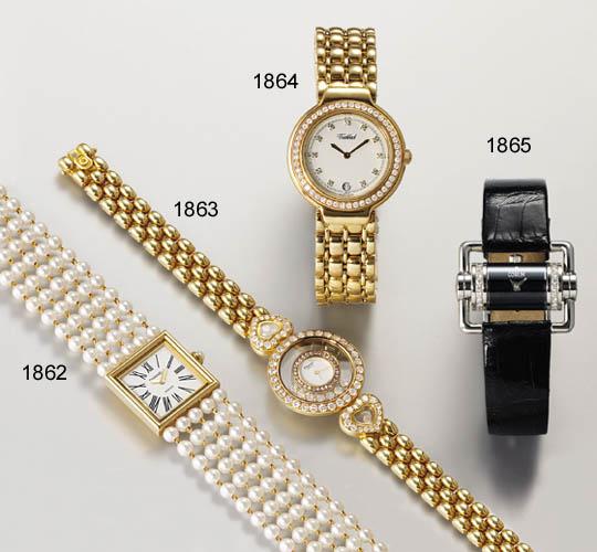 CHOPARD. A LADY'S 18K GOLD AND DIAMOND-SET WRISTWATCH WITH BRACELET