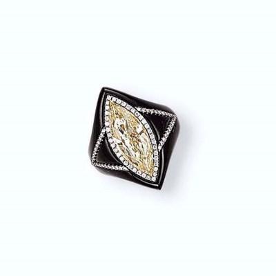 A COLOURED DIAMOND, NEPHRITE A