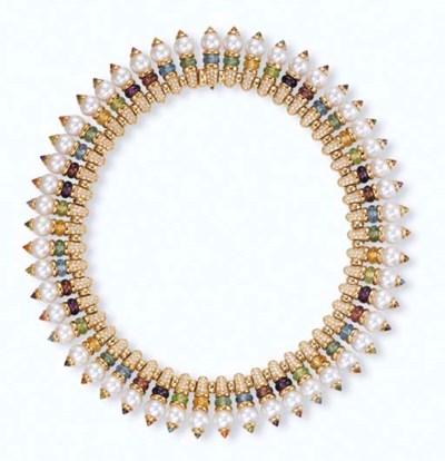 A MULTI-GEM AND DIAMOND NECKLA