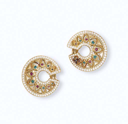 A PAIR OF MULTI-GEM AND DIAMOND 'TANDJORE' EAR CLIPS, BY CARTIER