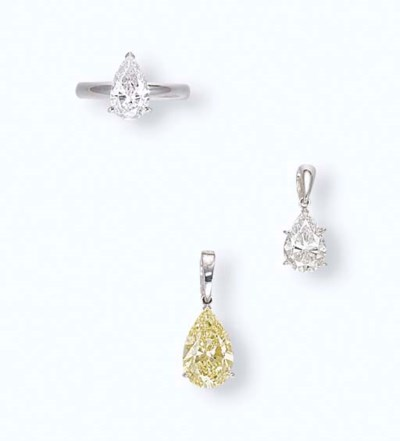 A GROUP OF DIAMOND AND COLOURE