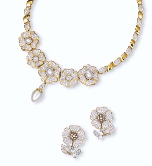 A SUITE OF DIAMOND AND CULTURED PEARL JEWELLERY