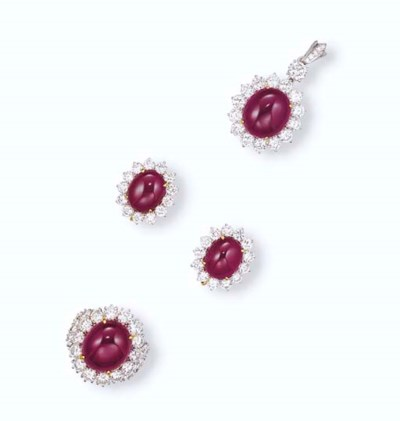 A SET OF RUBY AND DIAMOND JEWE