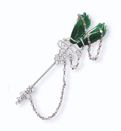 A JADEITE BUDDHA'S HAND AND DIAMOND JABOT PIN