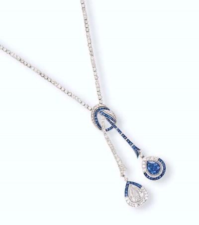 A DIAMOND AND SAPPHIRE LAVALIE