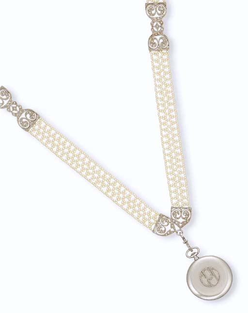 A BELLE EPOQUE SEED PEARL NECKLACE AND A PLATINUM PENDANT WATCH, BY CARTIER