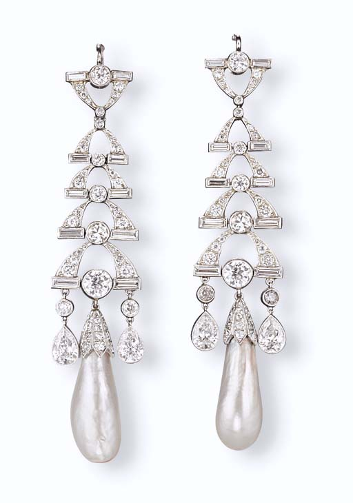 A PAIR OF NATURAL PEARL AND DIAMOND EAR PENDANTS
