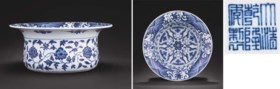 A SUPERB AND VERY RARE MING-STYLE BLUE AND WHITE BASIN