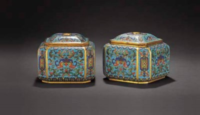 A RARE PAIR OF CLOISONNE ENAME