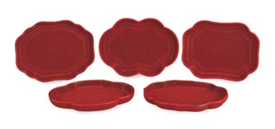 FIVE CINNABAR LACQUER TRAYS