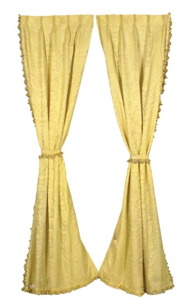 THREE PAIRS OF GOLD DAMASK CUR