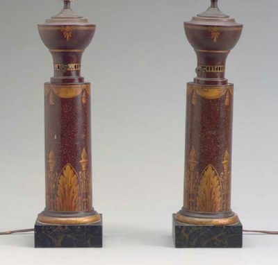 A PAIR OF PARCEL-GILT AND FAUX
