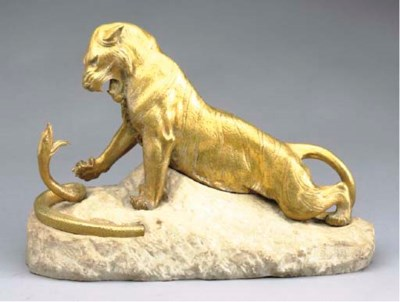 A FRENCH GILT-BRONZE FIGURAL G