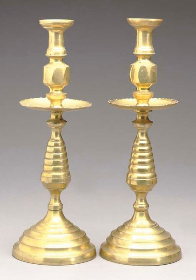 A PAIR OF CONTINENTAL BRASS BE