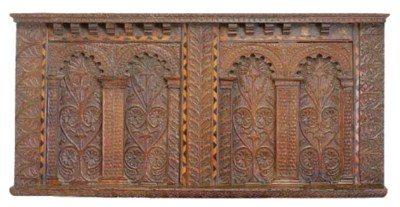 AN ELIZABETHAN CARVED AND INLA