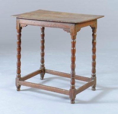 A CHARLES II OAK SIDE TABLE,