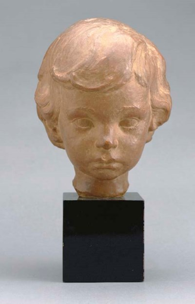 A FRENCH TERRACOTTA HEAD OF A