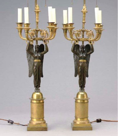 A PAIR OF EMPIRE PATINATED AND