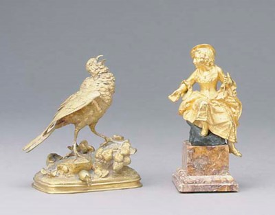 TWO FRENCH GILT-BRONZE FIGURE