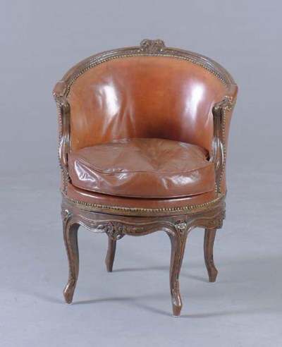 A LOUIS XV BROWN LEATHER COVER