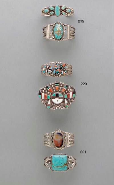 TWO ZUNI SILVER, TURQUOISE, AN