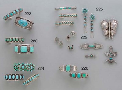 TWO NAVAJO SILVER AND TURQUOIS