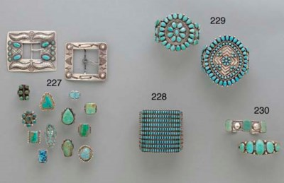 A ZUNI SILVER AND TURQUOISE BR