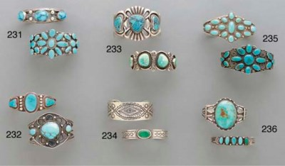 TWO ZUNI SILVER AND TURQUOISE