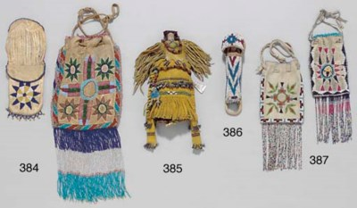 TWO APACHE BEADED HIDE POUCHES