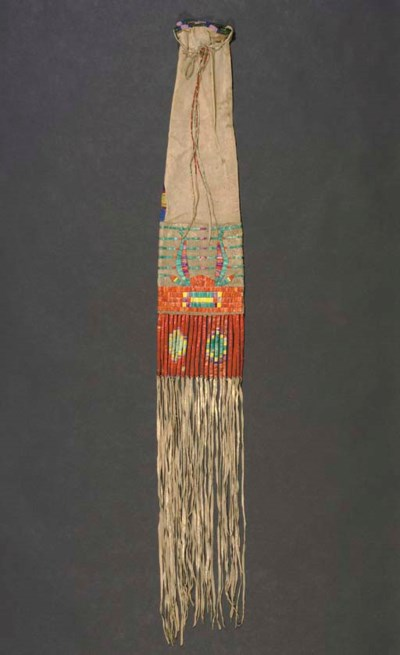 A SIOUX BEADED, QUILLED AND FR