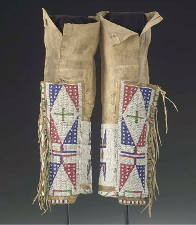 A PAIR OF SIOUX WOMAN'S BEADED