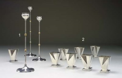 A SET OF THREE SILVER-PLATED A
